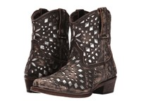 Roper Brighton Brown Sanded Leather Metallic Cutouts Cowboy Boots