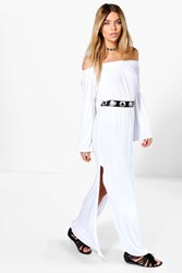 Boohoo Wide Sleeve Off Shoulder Maxi Dress White