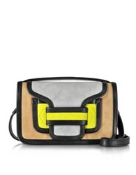 Pierre Hardy Alpha Multicolor Suede And Black Leather Crossbody Clutch