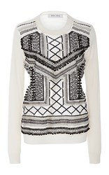 Prabal Gurung Long Sleeve Embroidered Knit Ivory