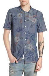 Native Youth Floral Sketch Short Sleeve Sport Shirt Indigo