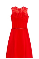Elie Saab Lace Jersey Dress Red