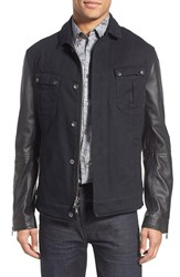 Men's John Varvatos Star Usa Military Trucker Jacket With Leather Sleeves Atlantic Blue