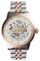 Fossil 'Townsman' Automatic Bracelet Watch 40Mm Silver Rose Gold