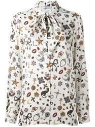 Vivetta Printed Pussy Bow Blouse Nude And Neutrals