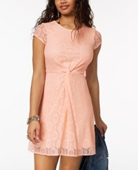 My Michelle Juniors' Twist Front Lace Dress Blush