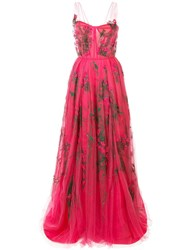 Carolina Herrera Embroidered Tulle Gown Pink