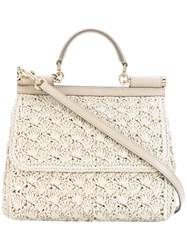 Dolce And Gabbana Sicily Tote Women Raffia Leather One Size Nude Neutrals