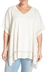 Plus Size Women's Caslon Lightweight V Neck Poncho Sweater Ivory Beige Pattern