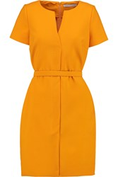 Victoria Beckham Belted Cotton Blend Mini Dress Orange