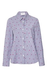 Tanya Taylor Embroidered Cal Pinstripe Shirt Blue