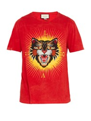 Gucci Angry Cat Applique Cotton T Shirt Red