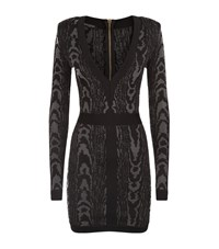 Balmain Long Sleeve V Neck Knit Dress Female Black