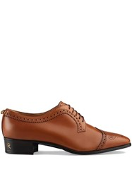 Gucci Leather Lace Up With Brogue Detail Brown