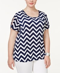 Ny Collection Plus Size Chevron Cold Shoulder Top Navy Zigzag
