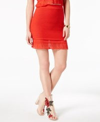 Moon River Pull On Sweater Skirt Red