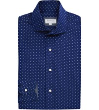 Emmett London Slim Fit Polka Dot Print Cotton Shirt Dark Blue