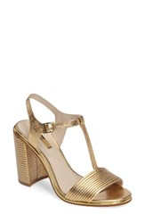 Louise Et Cie Women's Gabbin T Strap Sandal Gilded Gold Leather