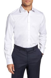 Ted Baker Big And Tall London Queenyy Trim Fit Solid Dress Shirt White