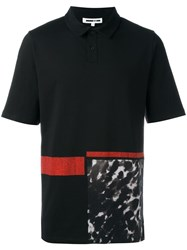 Mcq By Alexander Mcqueen Leopard Print Panel Polo Shirt Black