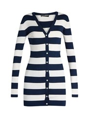 Dolce And Gabbana Rigato Striped Silk Jersey Cardigan Blue Stripe