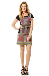 Laundry By Shelli Segal Geometric Pattern Fit And Flare Sweater Dress Pink Fizz Multi