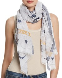 Fraas Floral Scroll Oblong Scarf Navy Multi