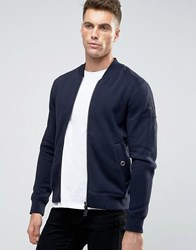 Armani Jeans Sweat Bomber Jacket With Back Eagle Logo In Navy Navy