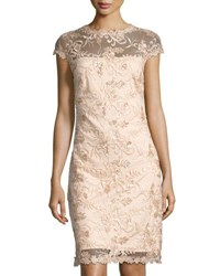 Lm Collection Sequin Embellished Lace Sheath Dress Champagne