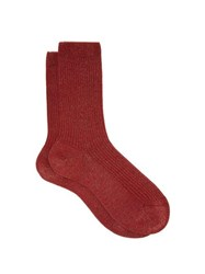 Falke Metallic Ribbed Knit Ankle Socks Red