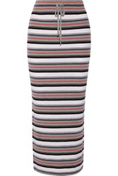 Alexander Wang T By Striped Wool Midi Skirt Gray