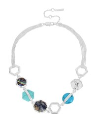 Kenneth Cole Hexed Mixed Geometric Semi Precious Stone Frontal Necklace Blue