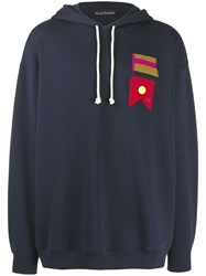 Acne Studios Flag Patch Oversized Hoodie Blue