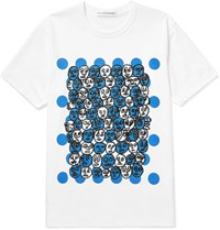 Comme Des Garcons Shirt Printed Cotton Jersey T Shirt White