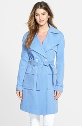 Kristen Blake Belted Cotton And Tencel Trench Coat Hydrangea
