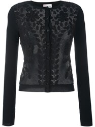 Red Valentino Floral Macrame Cardigan Black