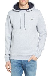 Lacoste Men's Sport Cotton Blend Hoodie Silver Chine Navy Blue