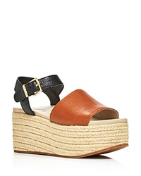 Kenneth Cole Women's Indra Leather Platform Wedge Espadrille Sandals Cognac