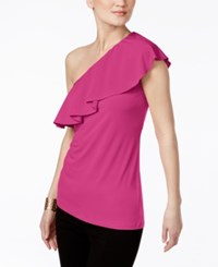 Inc International Concepts Ruffled One Shoulder Top Only At Macy's Intense Pink