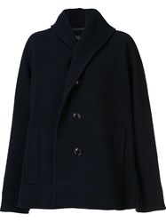 Y's Hooded Short Coat Blue