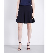 Armani Collezioni A Line Stretch Wool Mini Skirt Navy