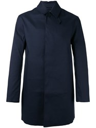 Mackintosh Concealed Button Coat Blue