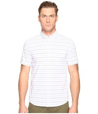 Jack Spade Short Sleeve Horizontal Variated Stripe Button Down White