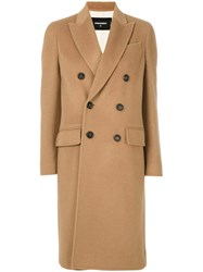 Dsquared2 Classic Buttoned Coat Women Polyester Viscose Wool 40 Brown