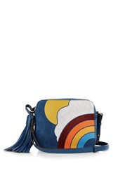 Anya Hindmarch Silver Cloud Leather Cross Body Bag Blue Multi