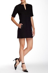 Nanette Lepore Academic Genuine Leather Trim Shift Dress Black