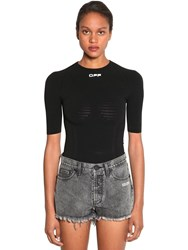 Off White Seamless S S Stretch Jersey Top Black