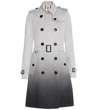 Burberry Kensington Long Cotton Trench Coat Grey