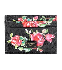 Dolce And Gabbana Printed Leather Card Case Black