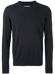 Maison Martin Margiela Classic Knitted Sweater Men Cotton Leather Wool S Blue